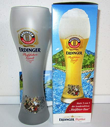 Erdinger / Bierglas/Weißbierglas/weiß satiniert/Floßfahrt-Gaudi/Weißbier-Bua