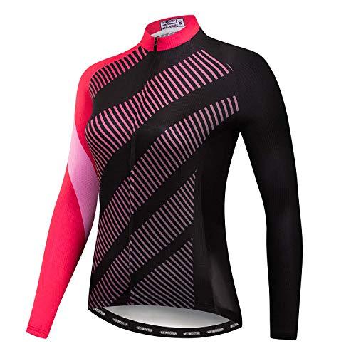 Weimostar Radfahren Langarm Jersey Frauen Mountainbike Jersey Shirts Lange Rennrad Kleidung MTB Tops Sportbekleidung Pink Schwarz Größe M