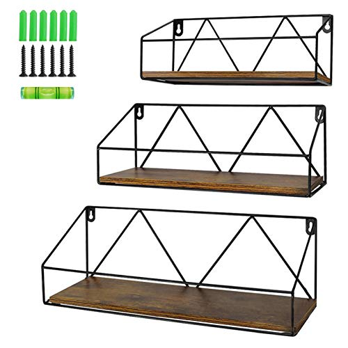 PETAFLOP Floating Wall Shelves Set of 3, Rustic Wood Storage Shelf for Bathroom, Bedroom, Kitchen, Living Room