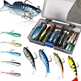 PLUSINNO Fishing Lures, Trout Pike Walleye Bass Fishing Jig Heads, Pre-Rigged Soft Swimbaits with Ultra-Sharp Hooks, Bass Lures with Paddle Tail, Fishing Bait for Saltwater & Freshwater…