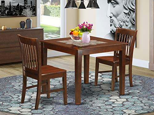 3 Pc Dinette set with a Dining Table and 2 Dining Chairs in Mahogany
