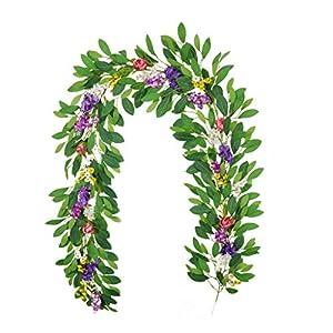 Silk Flower Arrangements MVIP Azalea Rattan Artificial Wreaths Wedding Wreath Flower Christmas Garland Home Door Decoration -2