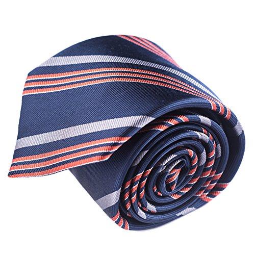 corbatas rayas de hombre azul marino plata coral naranja corbatas finas corbatas estrecha de hombre seda caja de corbatas by Qobod