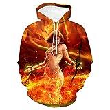 3D Impreso Arte Suéter,Camisa Holgada con Capucha para Pareja, Ropa de béisbol, Belleza de Fuego, L,Mangas Largas con Varios Estilos