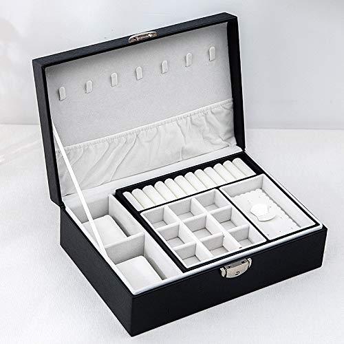 MUY Caja de Almacenamiento de exhibición de Cuero Lisa de la Caja del Organizador de la joyería del Viaje del Nuevo diseño con la Cerradura