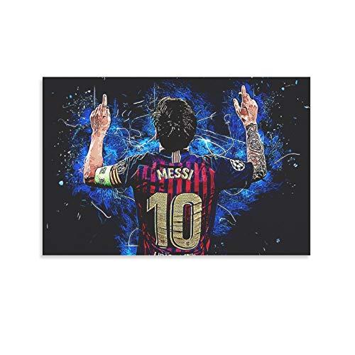 Póster de Lionel Messi con texto en inglés «He Is now Playing for The Leading Team Barcelona en la Liga de Fútbol Española y arte de pared, impresión moderna para dormitorio familiar, 30 x 45 cm