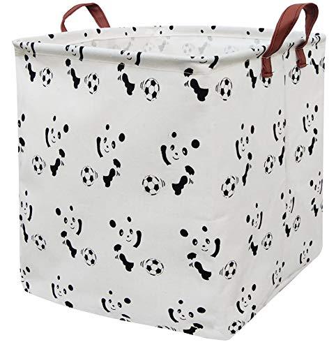 BOOHIT Square Storage Box Basket,Canvas Fabric Toy Collapsible Storage Organizer Bin,PE Waterproof Storage Box,Laundry Basket for Kid Rooms,Playroom,Shelves,Toy Basket,Gift Basket (Football Panda)