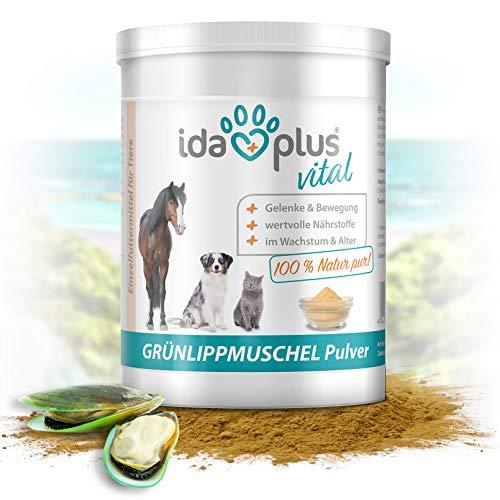 Ida Plus - Grünlippmuschelpulver 500 g - Ohne Zusätze - Für gesunde Gelenke bei Hunden, Katzen und Pferden - Optimale Versorgung mit Glykosamin-oglykanen, Omega 3, Calcium, Magnesium