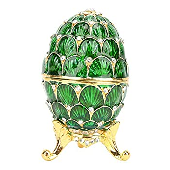 Trinket Box Vintage Enameled Easter Egg Shaped Jewelry Organizer Box for Desk Decoration Gift Idea for Friends Green