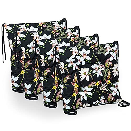 Cuscino per sedia, 40 x 40 cm, per interni ed esterni (motivo floreale, 40 x 40 cm - 4 pezzi)