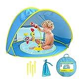 Strandmuschel Baby Strandzelt Pop-Up Zelt Strandzelt Strandmuschel Bodenanker Tragetasche UV Schutz, Einfach Zu Falten Wasserdicht Sonnenschutz Baby Pool Zelt