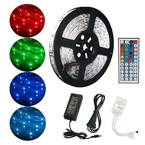 ALED LIGHT Kit de Ruban LED Lumineux 10M / 32.8ft 5050 RGB SMD Multicolore 300 LED Non Etanche Bande LED Flexible Lumineux Strip Light + Télécommande à Infrarouge 44 + Alimentation 24V 3A [Classe énergétique A]