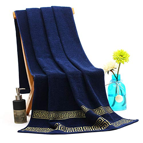 DOROCH Algodón Toallas de baño Toalla for Adultos Absorbente Toalla de baño Hombres Mujeres Toallas básica de 70x140cm (Color : Dark Blue, Size : 70x140cm)