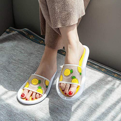 TDYSDYN Sandalias de Punta Descubierta para Mujer,Zapatillas de baño para el hogar, Bonitas Zapatillas con Fondo suave-1- Amarillo_38-39