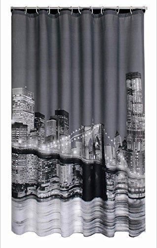 GYMNLJY Stadt Nachtansicht drucken wasserdichte Polyester Dusche Vorhang 180 * 180CM , 180*180cm