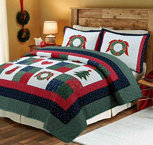 Cozy Line Home Fashions Happy Christmas 3-Piece Quilt Bedding Set, Coverlet Bedspread (Happy Christmas, Queen - 3 Piece)