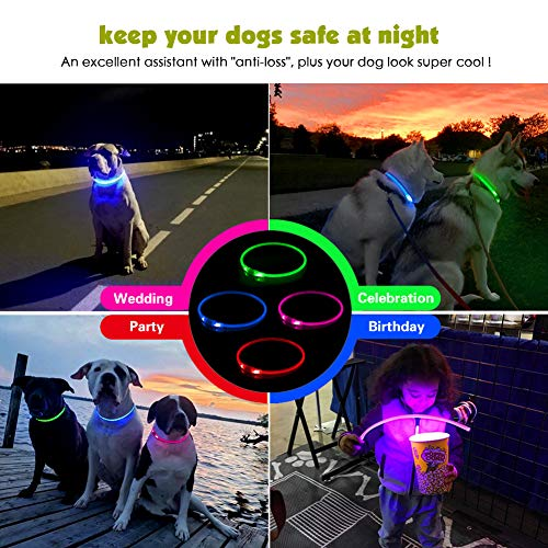 LED光る首輪,交換可能なバッテリーで駆動[500m先から目視可能]ペット夜間安全性[3種類のライトモードを搭載]防水スモールミディアムラージ[複数色ご用意]