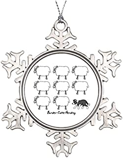 riveral Personalised Christmas Tree Decoration Border Collie Herding Sheep Unusual Snowflake Funny Ornaments