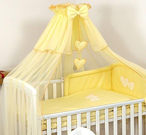Pro Cosmo De Luxe Grande Moustiquaire Ciel de lit Baldaquin 480x150 cm + Support Flèche de lit + Cœurs décoratifs pour Lit de Bébé- Jaune
