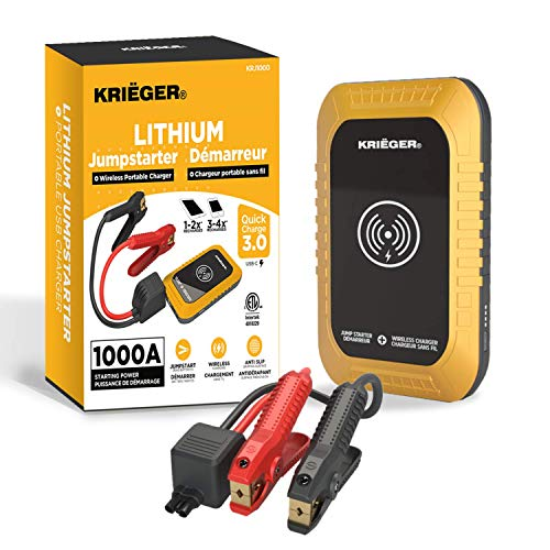 KRIEGER 1000A Car Jump Starter, 12-Volt Lithium Portable Battery Booster Pack, Jump Start Engines up to 6.0L Gas, 3.0L Diesel, Wireless Charger Power Bank w/ USB 3.0 Quick Charge Port - ETL Approved