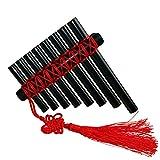 L'MS Panflute Plastic Panpipes Percussion Woodwind Instrument (Plastic-Black)