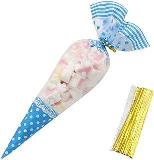 Heatigo 100 Stück Cone Tüte Durchsichtig Kegel Taschen Süßigkeitentüten Süßigkeiten Geschenk Verpackung Plastiktüten mit Kabelbinder (Blue)