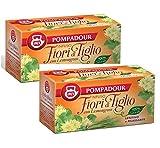 Pompadour 1913 Infundidas flores de tilo con limoncillo calmante y relajante 100% natural y sin cafeína - 2 x 20 bolsitas de té (70 gramos)