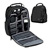 USA GEAR Portable Camera Backpack for DSLR (Black) with Customizable Accessory Dividers, Weather Resistant...