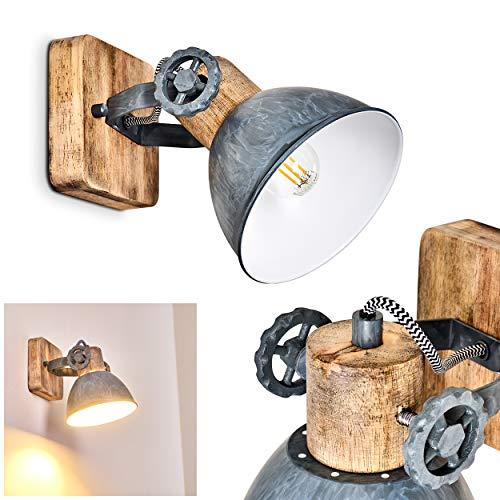 Wandleuchte Orny, Wandspot im Retro/Vintage Design, verstellbare Wandlampe aus Metall/Holz in Grau/Weiß/Braun, 1-flammig, 1 x E27-Fassung max. 60 Watt, für LED Leuchtmittel geeignet
