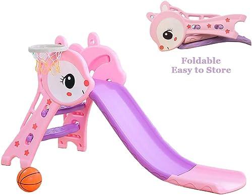 Mhxzkhl Kinderrutsche Folding, Kinder Spielzeug Basketball Indoor Outdoor Slide Garten Spielplatz, Pedal Set und Wave Slide 1,27 m, Geeignet für 1-6 Jahre Alt Baby,Rosa+BallFrame+Basketball