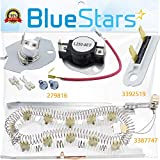 [NEW UPGRADE] 3387747 Dryer Heating Element & 279816 Thermostat Cut off Kit & 3392519 Thermal Fuse COMPLETE Dryer Repair Kit Replacement by Blue Stars – Exact Fit For Whirlpool Maytag Kenmore Dryers