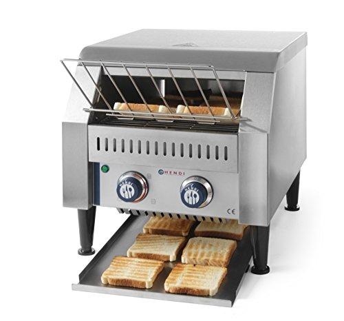 HENDI Durchlauf-Toaster, doppelt, Förderbandtoaster, Kettentoaster, Einstellbar Röstzeit bis zu 3 minuten, führung Edelstahl, 230V, 2240W, 418x368x(H)387mm, Edelstahl