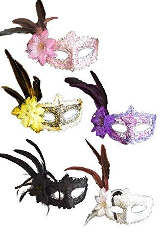Zinmuwa Las Mascaras Venecianas Con Plumas Fiesta De Halloween 5 Pack