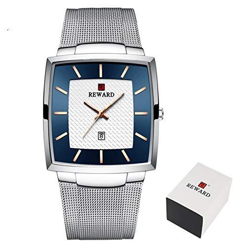 JIADUOBAO -S - Reloj impermeable para hombre, acero inoxidable, cuarzo, reloj masculino, marca superior, de lujo, malla delgada, reloj de pulsera S (color: caja plateada)