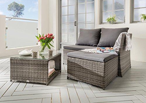 Destiny Lounge Gartenmöbelset Loft II Grau Loungeset Balkonset Sitzgruppe Polyrattan
