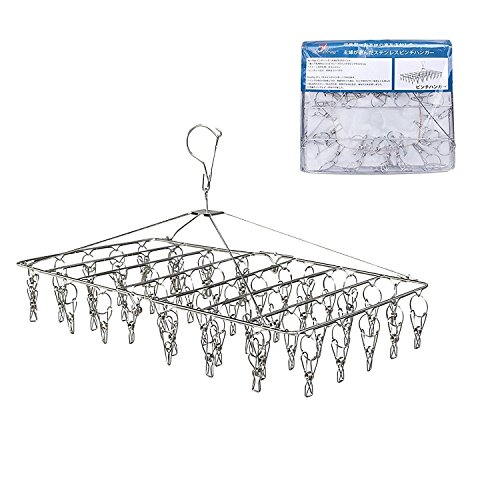 Rosefray Drying Rack with 52 Clips, Baby Hangers,Folding Stainless Steel Clothes Drying Rack, Sock Drying Hanger, Great for Air Drying Your Buds or Herbs & Flowers