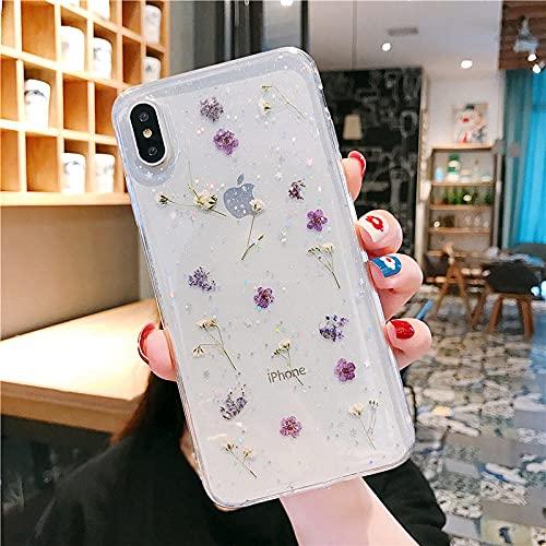Funda Transparente para teléfono con Brillo de Flores secas en Caliente para Apple iPhone 6 7 8 Plus X XS XR MAX 11 Pro 12 Mini Funda Transparente con epoxy Star-for_iPhone_8Plus_Purple