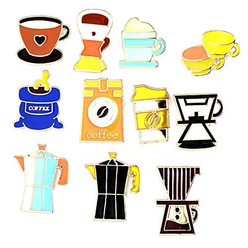@Y.T 11-teilige Kombination Kaffeemaschine Kaffeetasse Topfbrosche zum Gedenken an Männer und Frauen Abzeichen Boutonniere