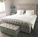 <span class='highlight'>Bed</span>s & Co Velvet <span class='highlight'>Upholstered</span> Chesterfield <span class='highlight'>Sleigh</span> <span class='highlight'>Bed</span> <span class='highlight'>Frame</span> and Headboard - Single/Double/Kingsize/Superking (Crushed Grey, Super Kingsize - 6FT)