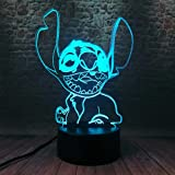 Fanrui Novelty Cartoon Cute Lilo and Stitch Happy Elvis Teddy Dog Stitch Figures 7 Color Change USB Touch and Remote Control Night Light Boys Bedroom Decor Child Kids Friend Xmas Birthday Toys Gifts