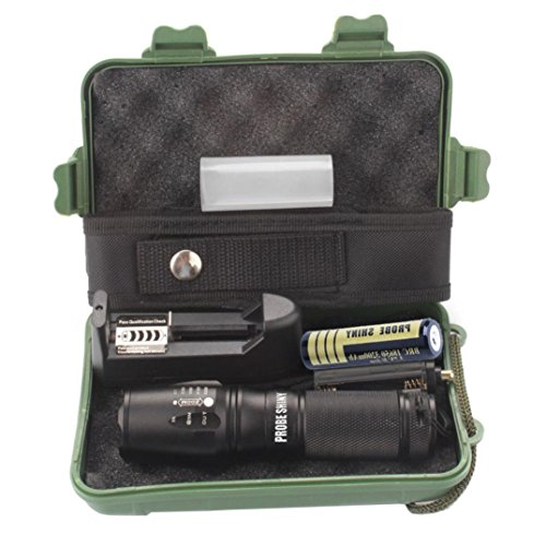 Fackel Set, HARRYSTORE 5 Modus Einstellbare Helligkeit Zoomable LED Taktische Polizei Taschenlampe + 18650 Akku + Ladegerät + Gehäuse