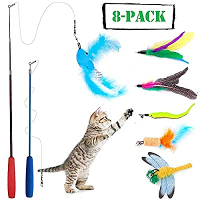 Wineecy 8 Pcs Cat Feather Toy, Cat Toy Wand, Teaser Wand Toy Set, Cat Toys Interactive Retractable Wand Rod with Assorted Feather Toy for Exercising Kitten or Cat
