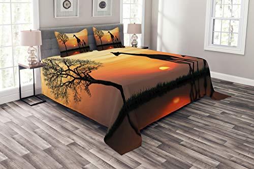ABAKUHAUS Afrika Tagesdecke Set, Giraffe im Wilden Wald, Set mit Kissenbezügen Kein verblassen, für Doppelbetten 220 x 220 cm, Orange Schwarz
