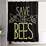 Cortina de la Ducha Polyester Shower Curtain Save The Bees Black Waterproof Bath Curtain with Hooks 60Wx72H Inches
