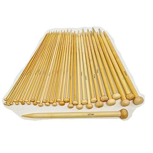 CHSYOO Ensemble d'aiguilles à Tricoter à Pointes Simples en Bambou 36 pièces, Longueur: 20 cm, 18 Tailles de 2,0 mm à 10,0 mm