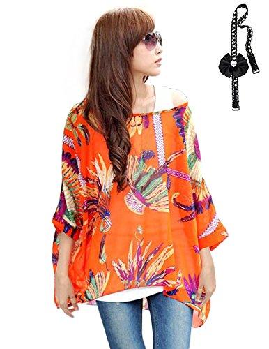 Sitengle Damen Sommer Böhmische Flügel Ärmel Chiffon Kurzarm Strand Beiläufige Shirt Bat Sleeve Lose Hemd T shirt Bluse Tops Orange onesize/EU32-42