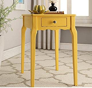 ModHaus Living Modern Country Style Wood Accent Nightstand End Sofa Side Table Rectangle Shaped with Storage Drawer - Includes Pen (Yellow)