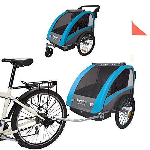 Veelar Sports 2 in 1 Kinderanhänger Fahrradanhänger Anhänger mit Buggy Set + Federung BT603-D03 BLAU