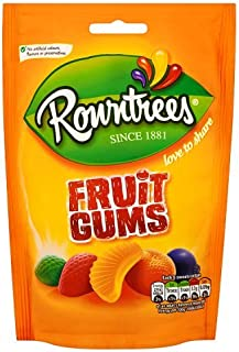 Original Rowntrees Fruit Gums Sweets Candy Bag Fruit Gums. Imported From The UK England In Mouth Watering Blackcurrant Strawberry Orange Lemon & Lime The Very Best Of British Candy