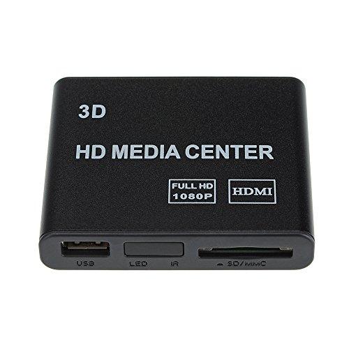Topop - Lettore multimediale wireless mini HD TV, Full HD 1080p USB HDMI AV YUV, adattatore SD MMC MS, telecomando, lettore di Flash Drive, hard disk esterno, scheda SD/MMC/MS, decodificatore incluso